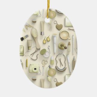 Yellow Vanity Table Ceramic Oval Ornament