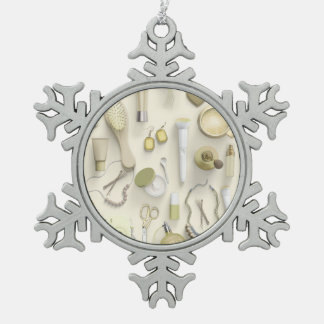 Yellow Vanity Table Pewter Snowflake Ornament