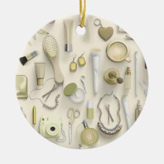 Yellow Vanity Table Round Ceramic Ornament