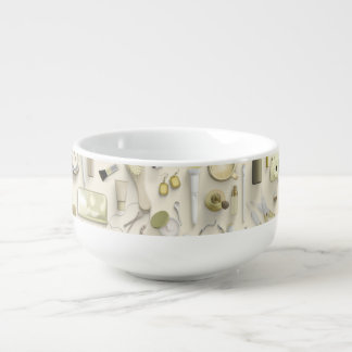 Yellow Vanity Table Soup Bowl With Handle