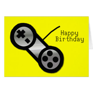 Yellow Vidoe Gaming Birthday Card