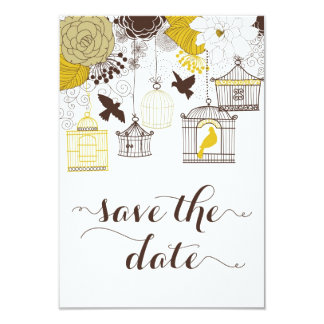 "Yellow Vintage Birdcages Floral Save the Date 3.5"" X 5"" Invitation Card"