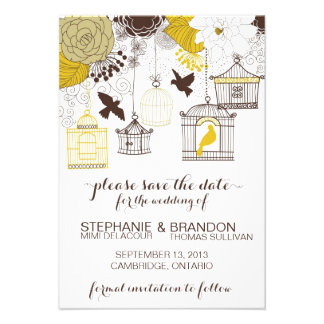 Yellow Vintage Birdcages Floral Save the Date Announcement