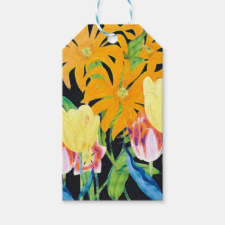 Yellow Vintage Botanical Tulips Pack Of Gift Tags