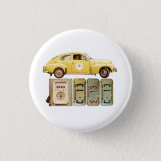 Yellow Vintage Car 1 Inch Round Button