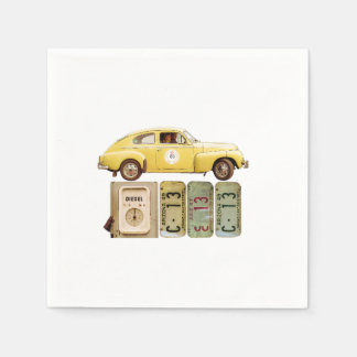 Yellow Vintage Car Disposable Napkins