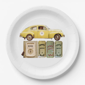 Yellow Vintage Car Paper Plate