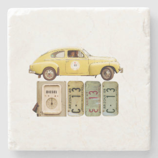 Yellow Vintage Car Stone Beverage Coaster