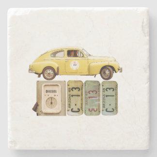 Yellow Vintage Car Stone Coaster