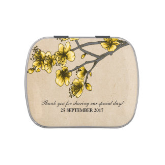 Yellow Vintage Cherry Blossoms Candy Tin