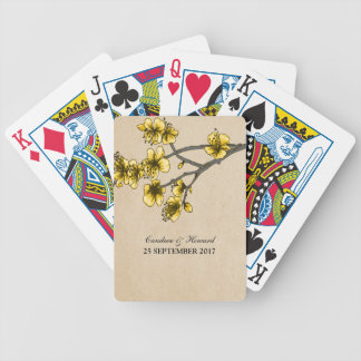 Yellow Vintage Cherry Blossoms Cards Poker Deck