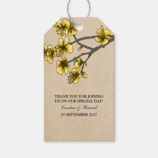 Yellow Vintage Cherry Blossoms Gift Tags Pack Of Gift Tags