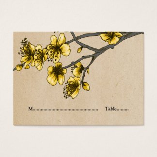 Yellow Vintage Cherry Blossoms Place Cards
