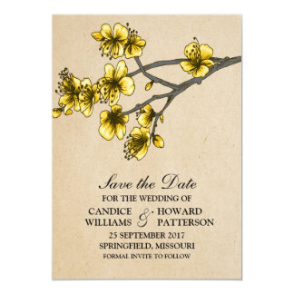 """Yellow Vintage Cherry Blossoms Save the Date 5"""" X 7"""" Invitation Card"""