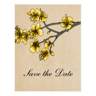 Yellow Vintage Cherry Blossoms Save the Date Postcard