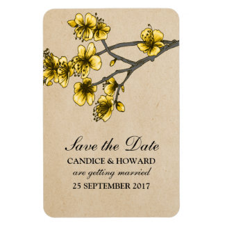 Yellow Vintage Cherry Blossoms Save the Date Rectangular Photo Magnet