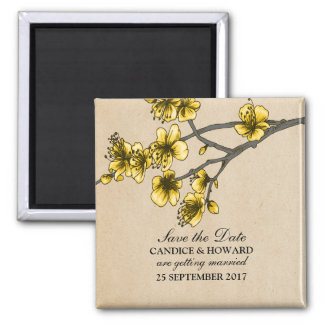 Yellow Vintage Cherry Blossoms Save the Date Square Magnet