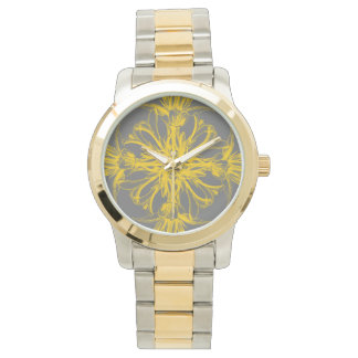 Yellow Vintage Damask Tropical Floral Wrist Watches