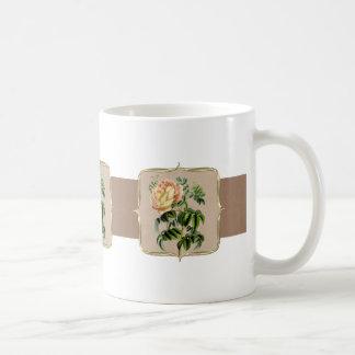 Yellow Vintage Flowers Wide Coffee Mug
