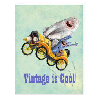 Yellow Vintage Monster Car Postcard