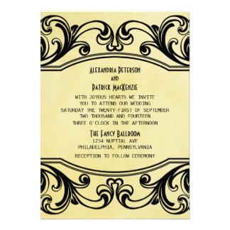 Yellow Vintage Swirls Wedding Invite