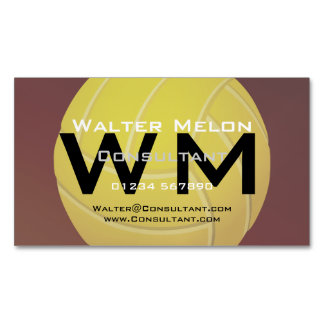 Yellow Volleyball Earthy Red Background Business Card Magnet