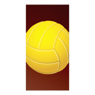 Yellow Volleyball Earthy Red Background Personalized Photo Card