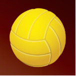 Yellow Volleyball Earthy Red Background Photo Sculpture Button