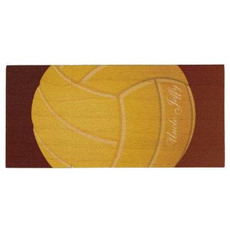 Yellow Volleyball Monogram Name Wood USB 3.0 Flash Drive