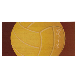 Yellow Volleyball Monogram Name Wood USB Flash Drive