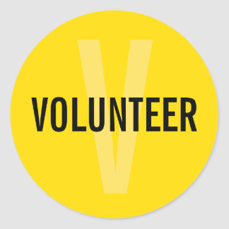 Yellow Volunteer Badge Classic Round Sticker