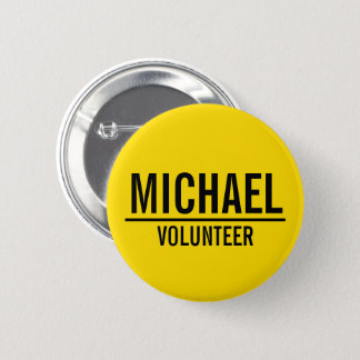 Yellow Volunteer Badge with Custom Name 2 Inch Round Button