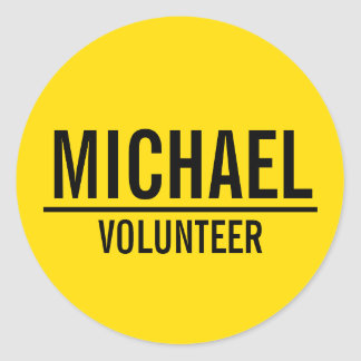Yellow Volunteer Badge with Custom Name Classic Round Sticker