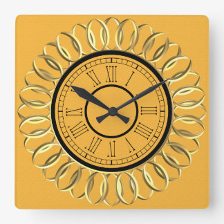 Yellow w/ Shiny Gold Centre and Roman Numerals Square Wall Clock