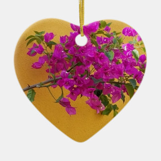 Yellow Wall Pink Flower Arch Sunshine Ceramic Ornament