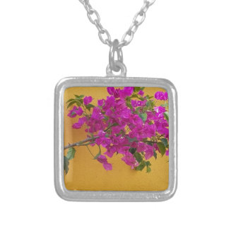 Yellow Wall Pink Flower Arch Sunshine Silver Plated Necklace