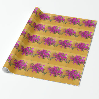 Yellow Wall Pink Flower Arch Sunshine Wrapping Paper