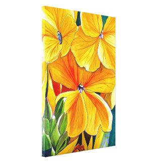 Yellow Wallflower watercolour flower art Canvas Print