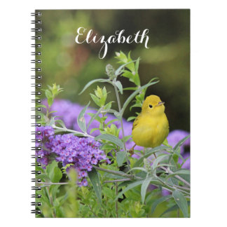 Yellow Warbler and Purple Flowers Notebook