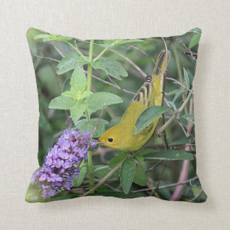 Yellow Warbler and Purple Flowers Throw Pillow