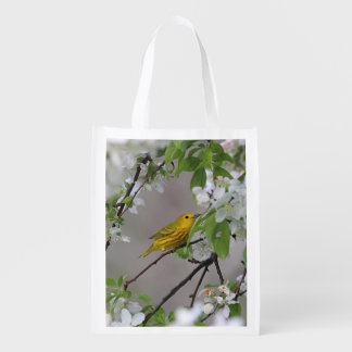 Yellow Warbler and Spring Blossoms Reusable Grocery Bag