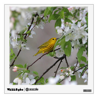 Yellow Warbler and Spring Blossoms Wall Sticker