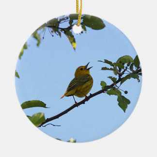 Yellow Warbler in the Spring Round Ceramic Ornament