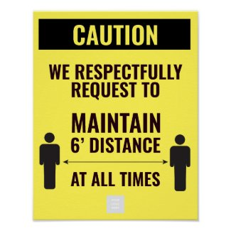 Yellow warning keep distance for companies poster
