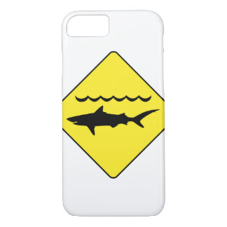 Yellow 'warning sharks' sign iphone 7 case