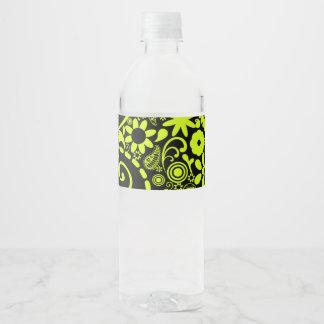 yellow water bottle label