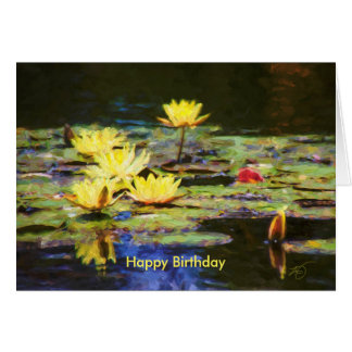 Yellow Water Lilies Birthday Card