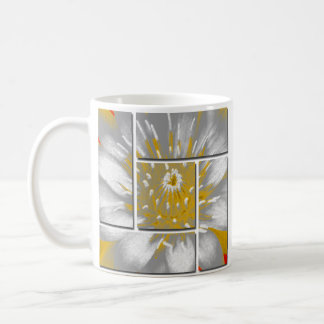 Yellow Water Lily Square Pattern Design Coffee Mug