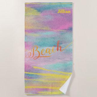 Yellow Watercolor Blobs Abstract  Beach Monogram Beach Towel
