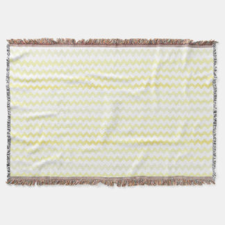 Yellow Watercolor Chevron Zigzag Pattern Throw Blanket